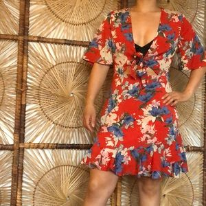 Red floral print dress by Loavies